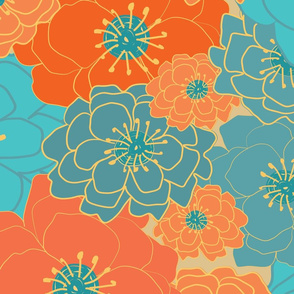 Large Floral Chintz-bright orange and teal
