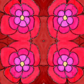 Red Floral Abstract