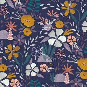Collage Paper Cut Florals - plum