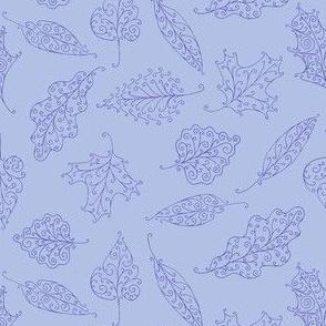swirling leaves in blue on periwinkle