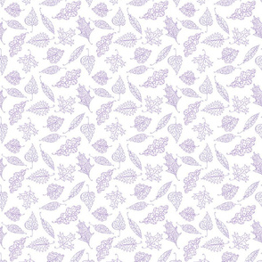 swirling leaves in purple on white