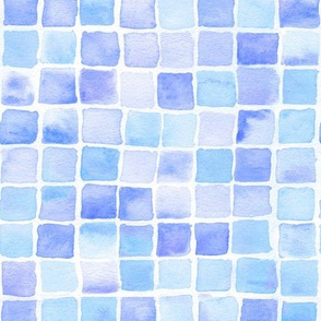watercolor squares in blue