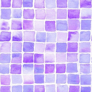 watercolor squares in purple