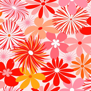 Pink and Red Retro Floral // Version 2