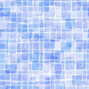 double watercolor squares in royal blue