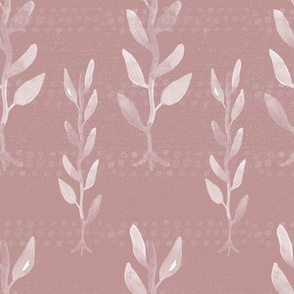 20-03d Boho Floral  Leaves Vines Dusty Rose
