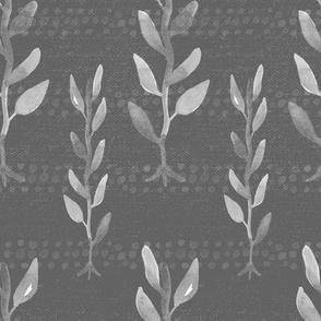 20-03b Boho Floral Vines Slate Gray
