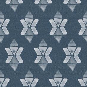 20-04aa Boho Star Denim Blue Geometric Watercolor