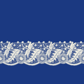 Dragonfly Lace ~ Custom Horizontal ~  Cosmic Latte on Willow Ware Blue