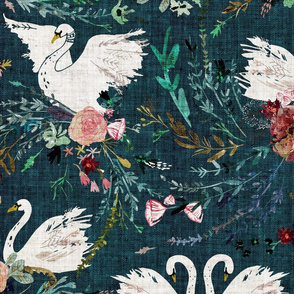Fable Swan Damask (teal) JUMBO