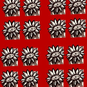 Black white and red sunflower repeating block pattern