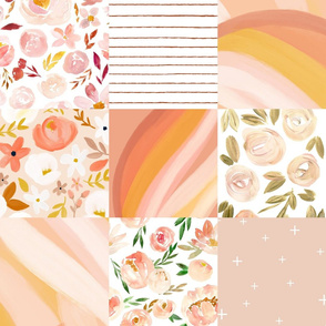 abstract & floral blush modern cheater quilt