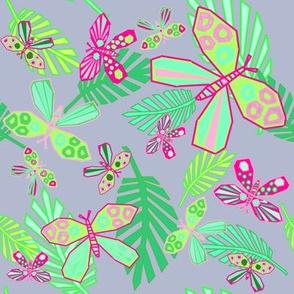 Paper Cut Butterflies on Periwinkle