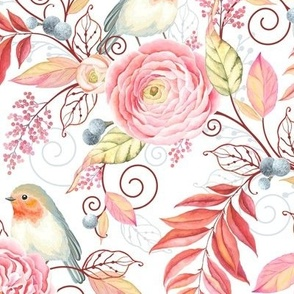 Spring Flowers Birds