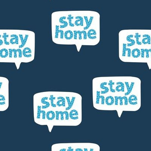 Inspirational text design stay home save lives corona navy blue aqua leopard spots