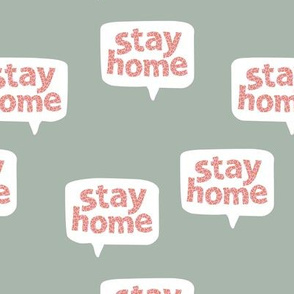 Inspirational text design stay home save lives corona virus sage green coral leopard spots