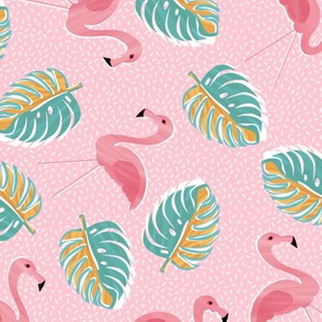 Ditsy flamingoes and monsteria - light pink