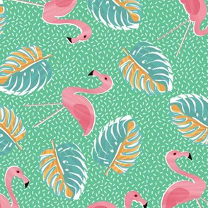 Ditsy flamingoes and monsteria - green