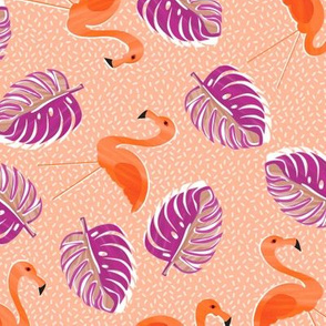 Ditsy flamingoes and monsteria - orange and purple