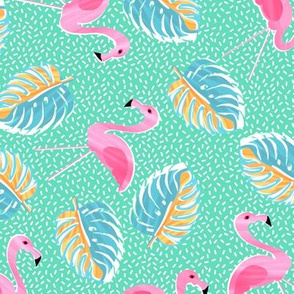 Ditsy flamingoes and monsteria - green and pink