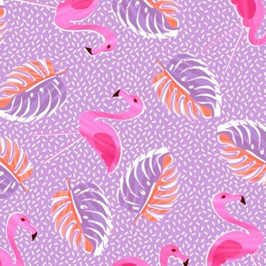 Ditsy flamingoes and monsteria - purple and pink