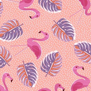 Ditsy flamingos and monsteria - pink and apr