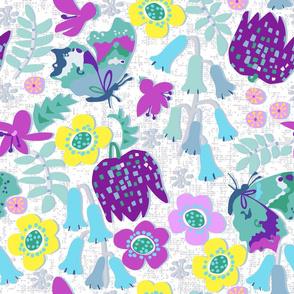 Fritillary, bluebells, butterflies.