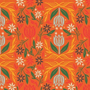 Nordic Floral in Orange