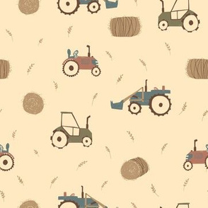 Farm Tractor and Haystacks on Yellow