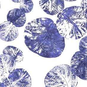 Sea Grapes Indigo on White 150