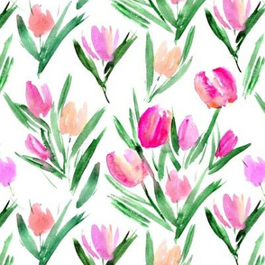 Tulips for princess ★ watercolor pink flowers for modern home decor, bedding, nursery