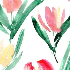 Large tulips for princess ★ watercolor flowers for modern fresh home decor, bedding, nursery