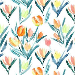 Tulips for princess - watercolor spring flowers