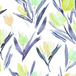 Mustard and indigo tulips for princess ★ watercolor large scale florals for modern home decor, bedding, nursery