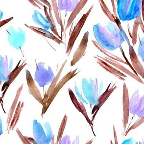 blue and earthy tulips for princess - watercolor florals p264