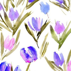 Blue and blush pink tulips for princess - watercolor florals