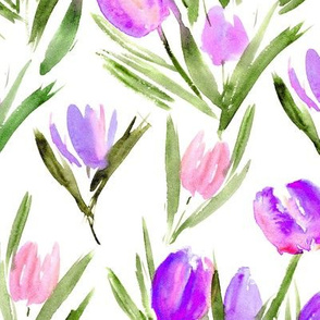 Amethyst tulips for princess ★ watercolor pink and purple flowers for modern home decor, bedding, nursery