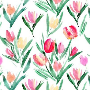 Watercolor tulips for princess ★ painted florals for romantic modern home decor, bedding, nursery