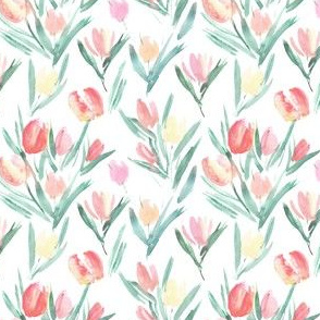 Small scale blush pink tulips for princess - watercolor pastel florals for modern baby girl