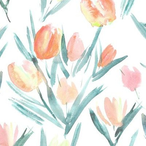 Fresh pastel tulips for princess ★ watercolor florals for modern home decor, bedding, nursery