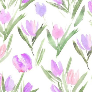 Tender mauve tulips for princess ★ watercolor flowers for modern home decor, bedding, nursery