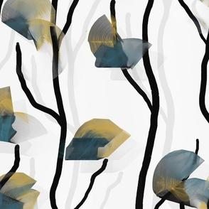 Modern Vine Simple Mustard Teal Minimalist -- Wallpaper, Home Decor