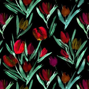 Tulips for princess on black ★ painted florals for modern home decor, bedding