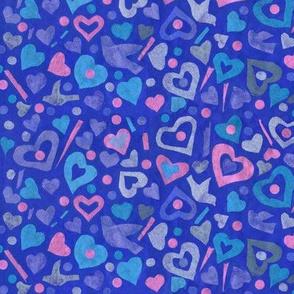 Hearts Tissue Paper Collage Pattern  Julia Khoroshikh 02 2020 Bluie Pink Big