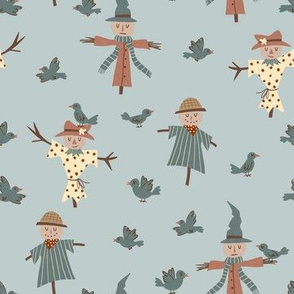 Cute Scarecrows with Crows
