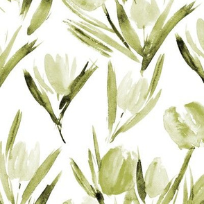 Olive green tulips for princess ★ watercolor khaki bouquets for modern home decor, bedding, nursery