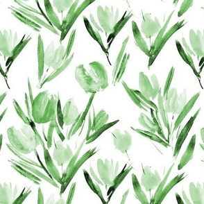 Green tulips for princess - watercolor florals p264