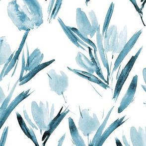 Blue tulips for princess ★ watercolor tonal monochrome floral print for modern scandi home decor, bedding, nursery