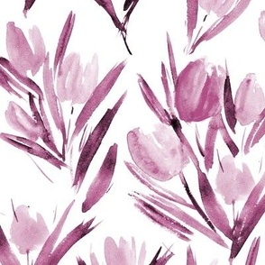 Burgundy tulips for princess - watercolor flowers 264