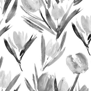 Noir tulips for princess ★ watercolor flowers in shades of grey for modern scandi minimal home decor, bedding, nursery, black and white florals